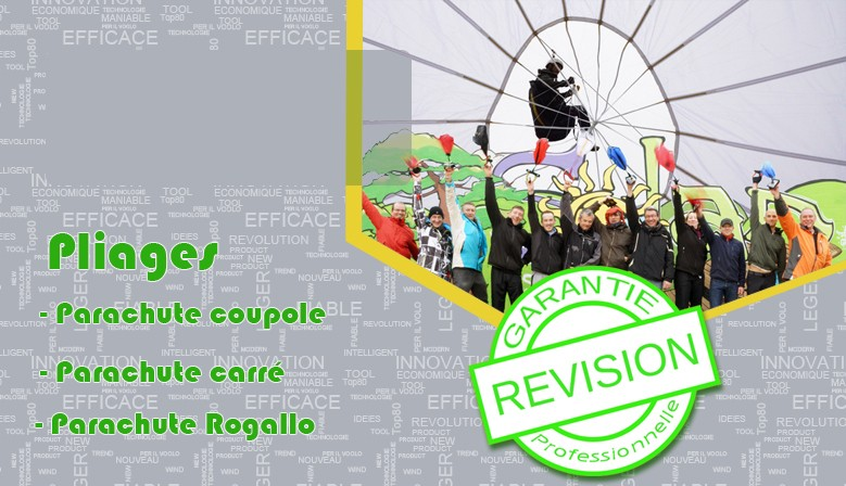 We offer a folding rescue service for square, round and Rogallo parachutes