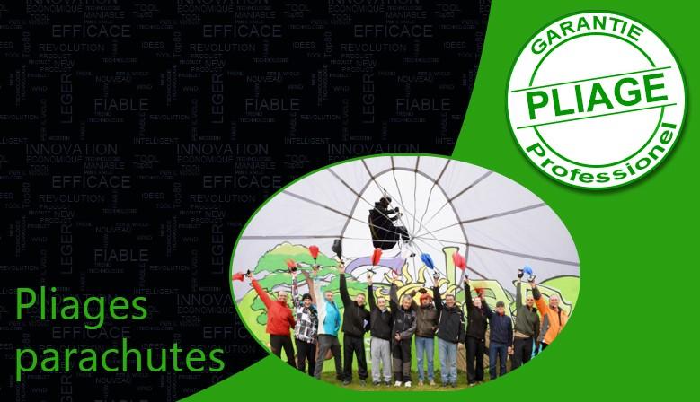 Nous vous proposons un service pliage de parachutes de secours types carrés, ronds et Rogallo